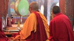 Buddhist monks singing prayers in Tiksey Monastery. Ladakh, India Stock Footage