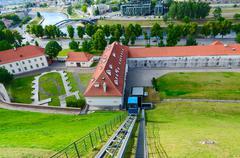 Climb of funicular to Castle Mountain (Mount Gediminas), Vilnius, Lithuania - stock photo