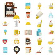 Stock Illustration of Breakfast flat color icons set