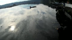 Stock Video Footage of Lake boatman row boat
