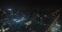 Video looking out over Beijing at night Stock Footage