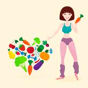 Slim athletic girl, fresh vegetables and fruits, proper lifes - stock illustration