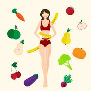 Slim girl, fresh fruits and vegetables. Proper lifestyle - stock illustration