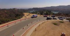 Scenic flight over lookout vista point Hollywood Hills Lake Hollywood Reservoir Stock Footage