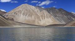 Tibet Pangong Lake in Himalayas mountain, Ladakh, India Stock Footage