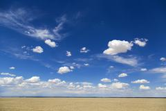 Sky and desert in Gansu province, China - stock photo
