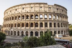 views of coliseum in rome - stock photo