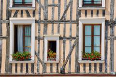 Windows in half-timbered house - stock photo