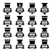 Christmas nutcracker - soldier figurine head black icons set Piirros