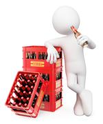 3D white people. Man drinking a bottle of beer - stock illustration