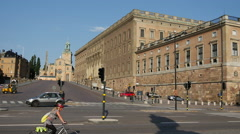 The Royal Palace and the Royal Chapel in Stockholm Sweden Stock Footage