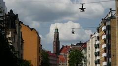 A street in Östermalm Stockholm Sweden Stock Footage