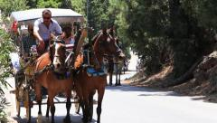 Horse drawn carriages on Prince Island Buyukada . Istanbul, Turkey Stock Footage