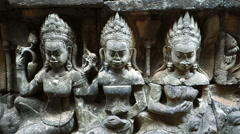 Carvings At Leper King Terrace, Angkor Thom, Siem Reap, Cambodia - stock footage