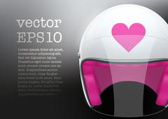White woman Motorcycle helmet Stock Illustration