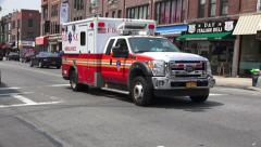 Ambulance Racing Down New York City Street Stock Footage