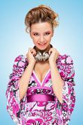 Homemaker in violet. - stock photo