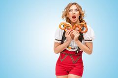 Hunger for pretzels. Stock Photos