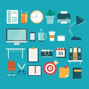 Set of office equipment icon flat design Stock Illustration