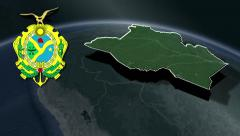 Amazonas whit Coat of arms animation map - stock footage