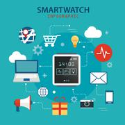 Smart watch technology concept background Stock Illustration