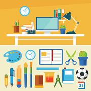Education and equipment banner flat design template Stock Illustration