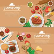 Cooking banner flat design template Stock Illustration
