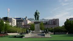 Karl XIII statue in the Kungsträdgården, Norrmalm, Stockholm, Sweden Stock Footage