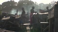 Fishmonger on the beach from Dakar to Senegal Stock Footage