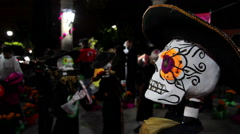 Colorful Mariachi skeleton sculpture in the Day of the Dead. - stock footage