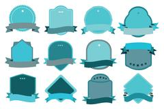 Turquoise and Grey Decorative SIgns with Ribbon Stock Illustration