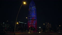 ULTRA HD 4K real time shot,The Agbar, the Modern skyscraper in Barcelona Stock Footage