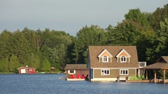 Boathouses on Lake Muskoka Stock Footage