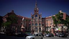 ULTRA HD 4K real time view of Hospital de la Santa Creu i de Sant Pau Stock Footage