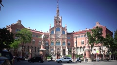 ULTRA HD 4K real time view of Hospital de la Santa Creu i de Sant Pau Stock Footage