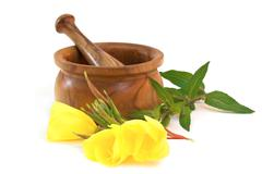 Evening primrose with wooden mortar - stock photo