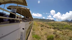 St. Kitts 071 famous tourist train seen from outside during the journey Stock Footage