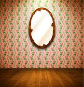 Vintage room with mirror and floral wallpaper - stock illustration