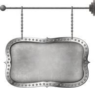 Light metal signboard on chains - stock illustration