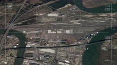 Aerial surveillance flyover of an urban rail yard Stock Footage