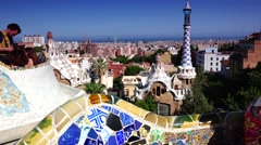 Stock Video Footage of ULTRA HD 4K real time shot in Parc Guell,