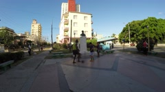 Guys Playing Soccer in Vedado district in Havana, Cuba Stock Footage