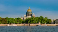 View on the Neva river and St Isaac's Cathedral. St. Petersburg Stock Footage