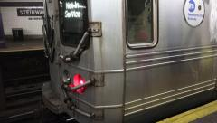 Speeding Subway Train Come To A Stop Stock Footage