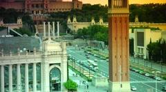ULTRA HD 4K view of Plaça d'Espanya Stock Footage