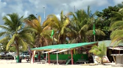 Sint Maarten 106 colorful closed bar at the beach in Simpson Bay Stock Footage