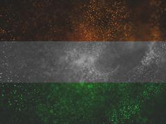 particles with india tricolors band - stock illustration