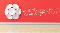 Stock Illustration of 3d speakers with musical note on wall,