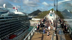 Stock Video Footage of Sint Maarten 107 Philipsburg - Regal Princess at port side of Celebrity Eclipse