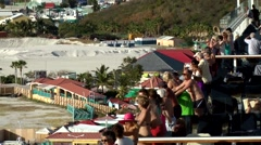 Sint Maarten 111 sailaway melody of vessel horn and waving passengers on deck - stock footage